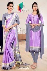 Lavender Gray Premium Italian Silk Crepe Saree For Factory Uniform Sarees