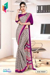 Brown Wine Premium Italian Silk Crepe Saree For Student Uniform Sarees