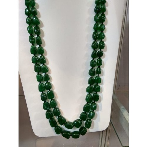 Green Party Wear Ladies Bariyal Emerald Tumble Beads Necklace