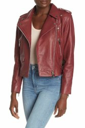 Full Sleeve Maroon Leather Jacket Women