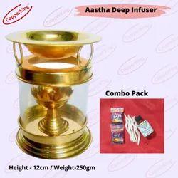 Brass Diya With Glss Cover Diffuser Akhand Deep