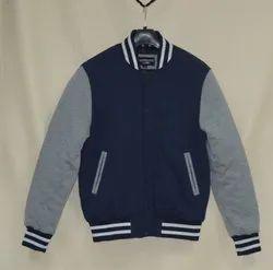 caliber india Wool Leather Varsity Cotton Fleece Jacket