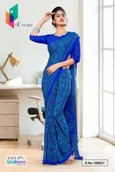 Blue Premium Italian Silk Crepe Uniform Sarees For Office Staff
