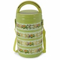 Round Hot & Sour SS Adjustable Lunch Box, 4 Containers