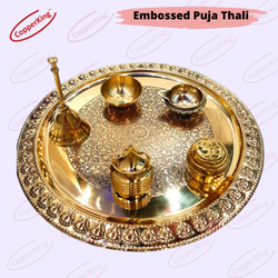 Embossed Brass Puja Thali Set