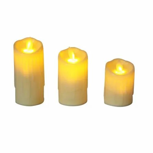 Swinging LED Candles Set of 3 Flameless Electronic Melted Design Candles for Decoration