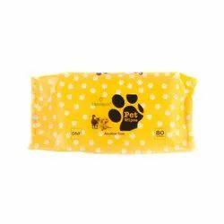 巴克勒黄色宠物湿巾,包装尺寸:80件