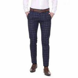 Casual Wear Check Mens Cotton Trouser, Size: 34