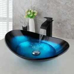 Table Top Glass And Ceramic Wash Basin, For Bathroom