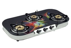 On Off Glass Gas Chula Three Burner, For Kitchen