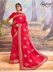 Gajari Color Vichitra Silk Saree