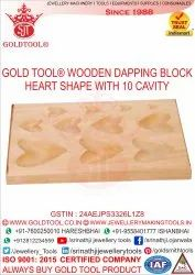 Gold Tool 11 Cavity Heart Shaped Hardwood Dapping Block, Model Name/Number: Rectangle, For Jewelry