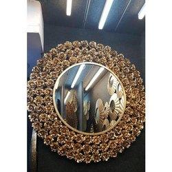 Golden Iron Rose Round Wall Mirror