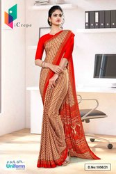 Beige Red Small Print Premium Italian Silk Crepe Uniform Sarees For Students