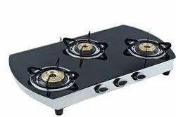 QUATTRO On Off Black Glass Gas Chula Three Burner, For Kitchen, Size: 34 Inch