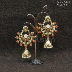 Designer Meenakari Jhumka Earrings