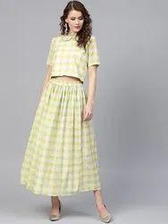 La Firangi Women Green & Blue Printed Top with Skirt