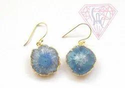 Blue Solar Quartz Earrings