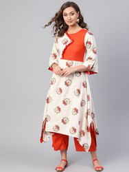 La Firangi Women Off- White & Orange Printed Kurta With Palazzos
