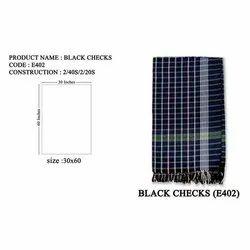 Black Checks Cotton Towel, Rectangular, Size: 30x60 Inches