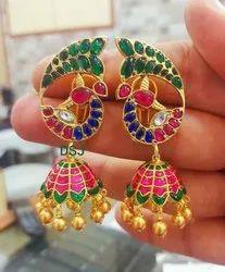 Jhumki Golden Gold Plated Earrings Beaded with Gemstone