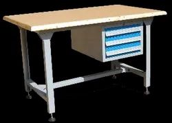 Mild Steel Work Bench With Partial Cabinet, For Industrial