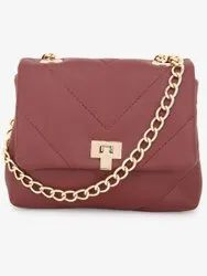 Small Quilted Sling Bag in Maroon