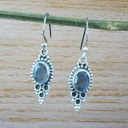 925 Sterling Silver Labradorite Gemstone Royal Earrings