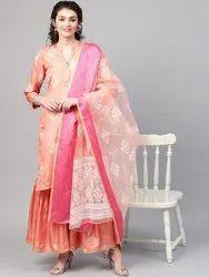 La Firangi Women Peach-Coloured & White Pure Silk Printed Kurta with Sharara & Dupatta