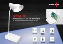Universal Plastic Brighto Rechargeable LED Lamp With Mobile Stand 3 Color Light, Battery Type: Recharable, Capacity: Standard