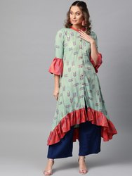 La Firangi Women Sea Green & Pink Floral Print A- Line Kurta