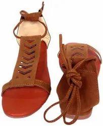 Flat Plain Ladies Abon Brown Designer Sandal, For Casual Wear