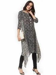 La Firangi Women Black & Grey Printed Asymmetric A-Line Kurta
