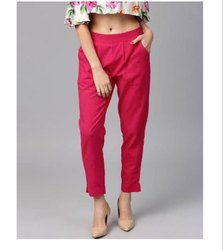 Punay SOLID Ladies Cotton Trousers Straight Pants