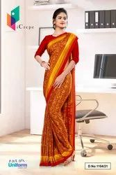 Maroon Yellow Paisley Print Premium Italian Silk Crepe Uniform Sarees For Institutions