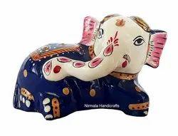 Metal Meenakari Baby Elephant Statue