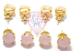 Semi Precious Stone Pink Stud Earring