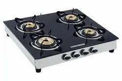 SUNSHINE Black Glass Gas Chula Four Burner, For Kitchen, Size: 40 Inch