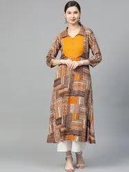 La Firangi Women Brown & Mustard Yellow Printed A-Line Kurta