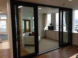 Sliding Clear Glass Wooden Texture UPVC Door, 5-22 Mm