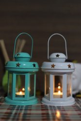 Multicolor Metal Iron Tealight Candle Holder For Diwali Home Decoration, 1 Pc