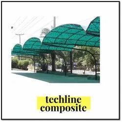 Green Prefab Fiberglass Parking Shed, Thickness: 3 Mm
