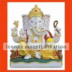 White And Gold Finish Marble Ganesh Statues