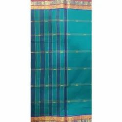 6m Party Wear Blue Pure Handloom Cotton Saree with Zari Booti and Border