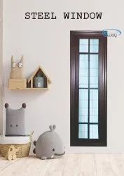 Gray Powder Coated STEEL WINDOW, For Residential, Size/Dimension: 135x50