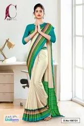 Cream Green Plain Gala Border Polycotton Cotfeel Saree For Annual Function