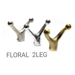 Screw in Floral 2 Leg Coat Hook, Chrome