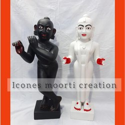 White And Black Radha Krishna Statues