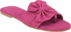 Flat Plain Ladies Abon Pink Fashionable Slipper, For Casual Wear