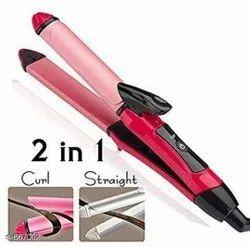 Pink Unisex Nova 2009 2 in 1 Hair Straightener and Curler, For Household